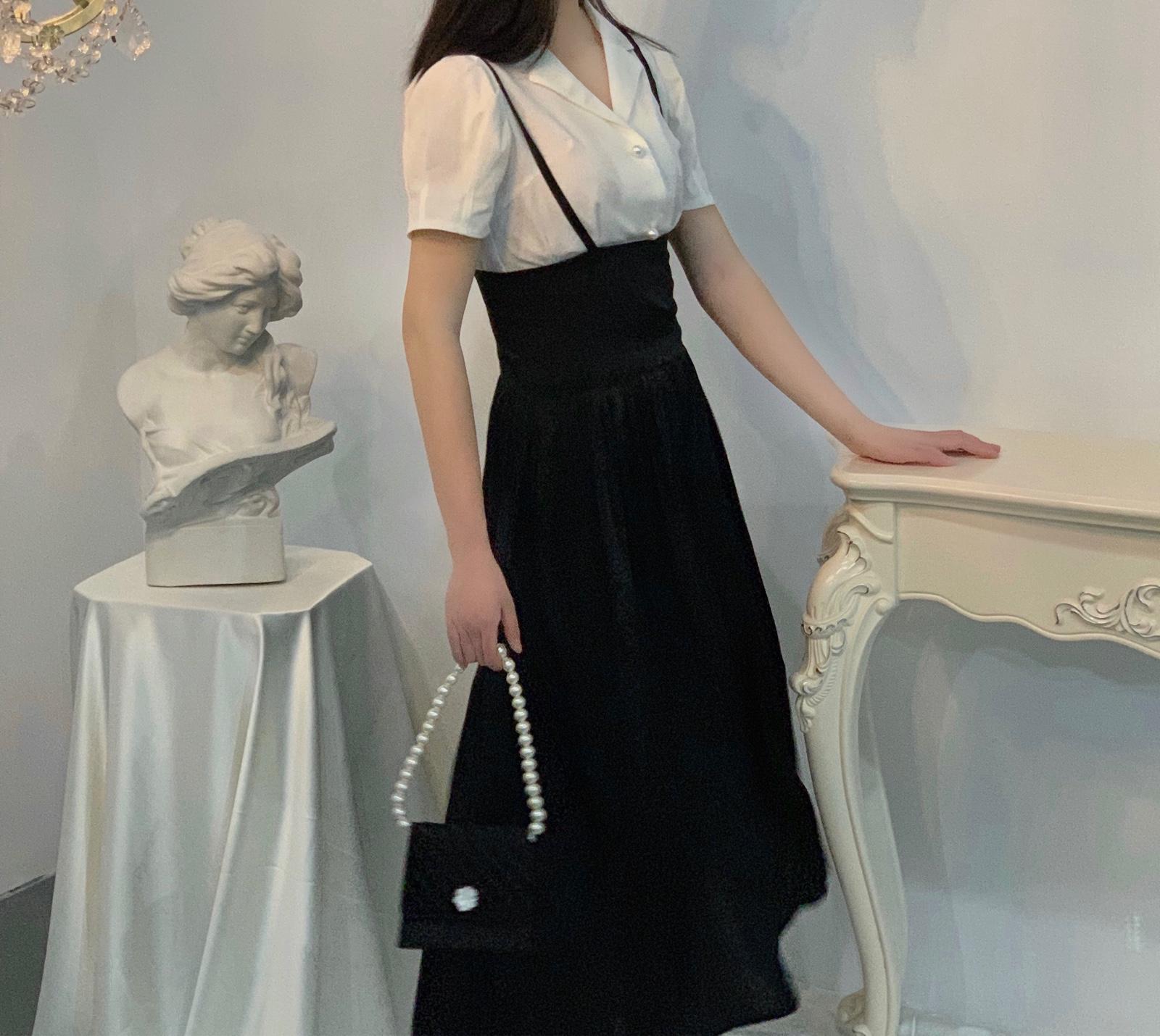 晚时光2019夏 复古黑色束腰