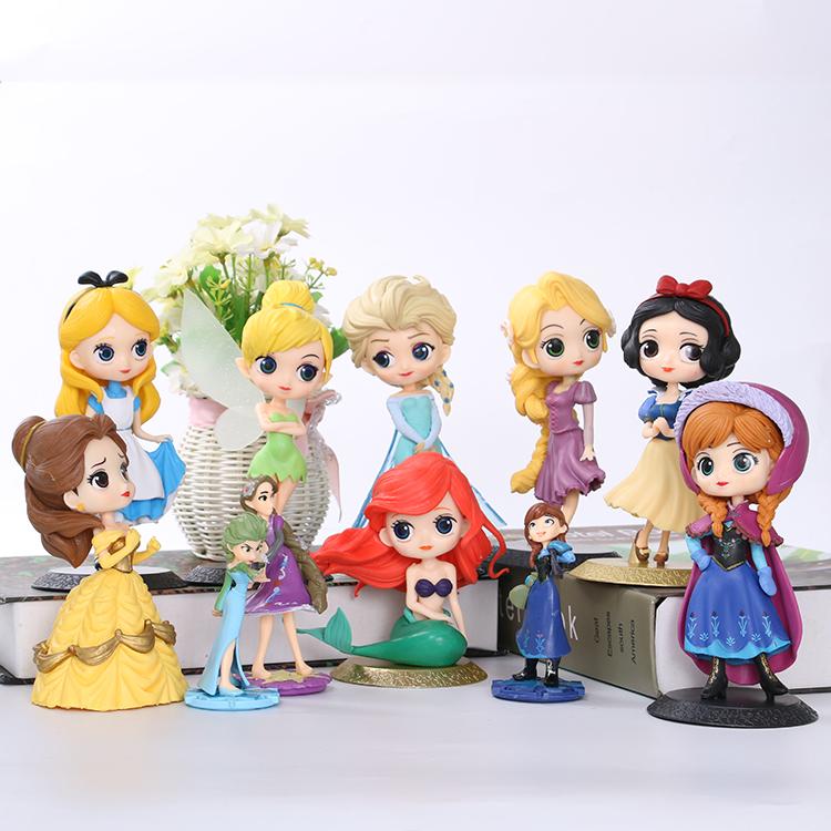 Popular snow white cake decoration dwarf Sophie Asha Princess Anna Mermaid bell ice and snow ornaments