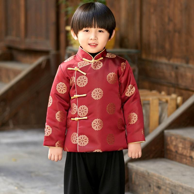 儿童唐装男童中国风冬季小孩汉服宝宝周岁抓周礼服男孩喜庆拜年服