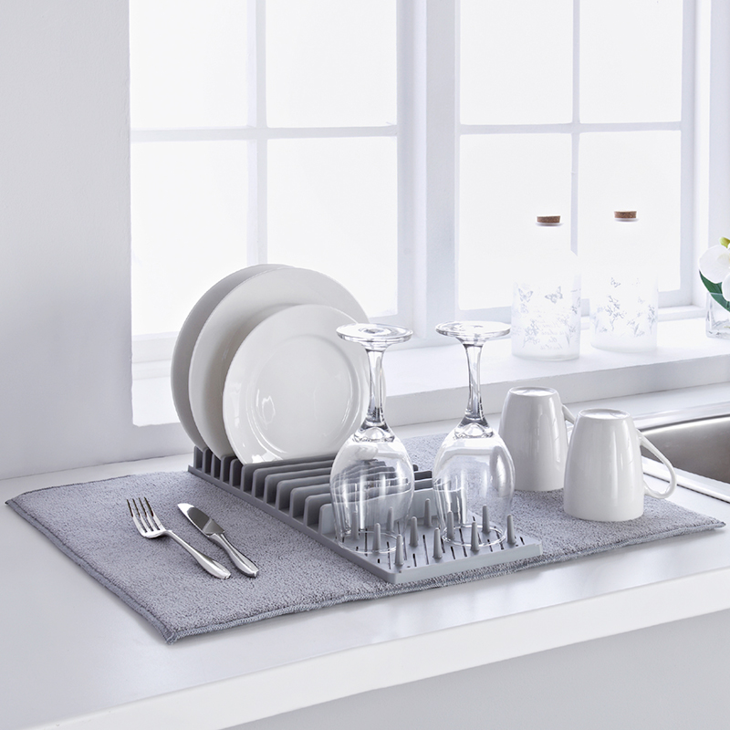 Multifunctional dish rack water absorbing mat detachable folding fabric dish rack heat insulation pad for household use