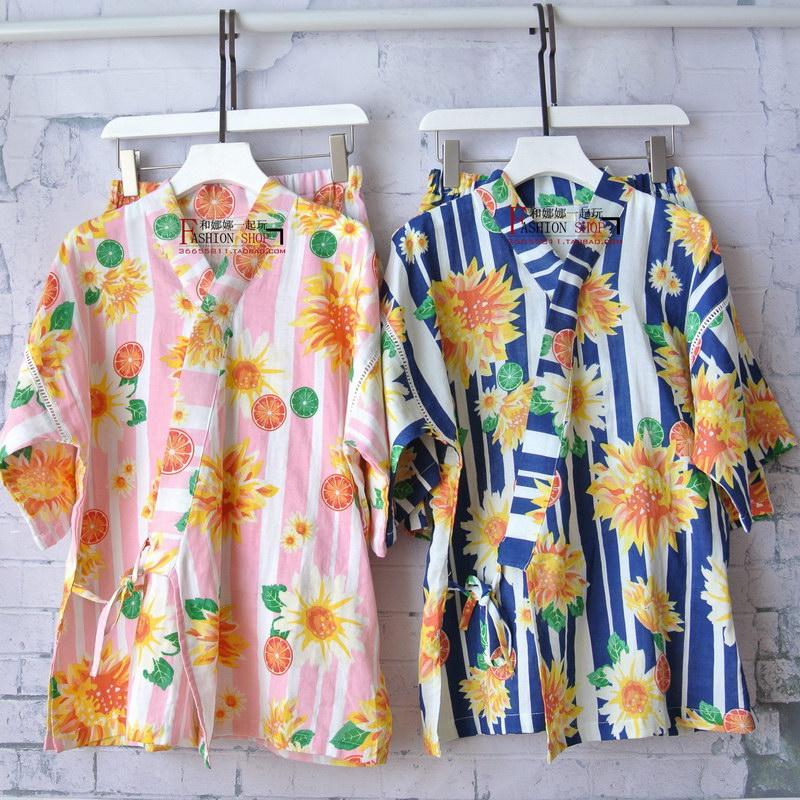 出口春夏纯绵双层棉纱甜美性感和风和服甚平睡衣家居服套装特惠
