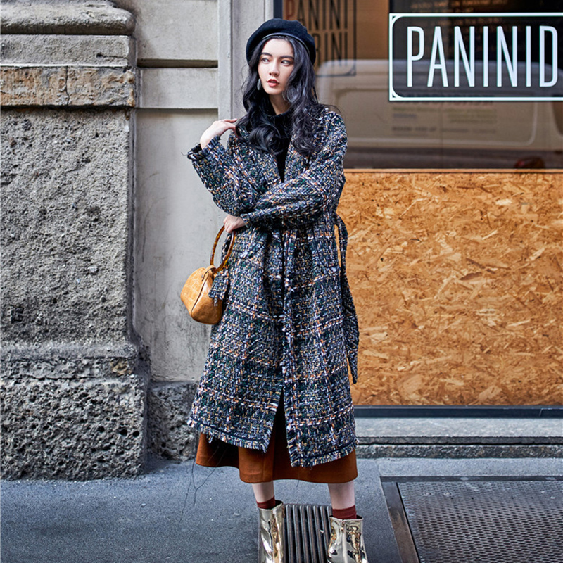 Off season special price clearance Hepburn woven thousand bird plaid coat with cotton thickened medium and long tweed coat