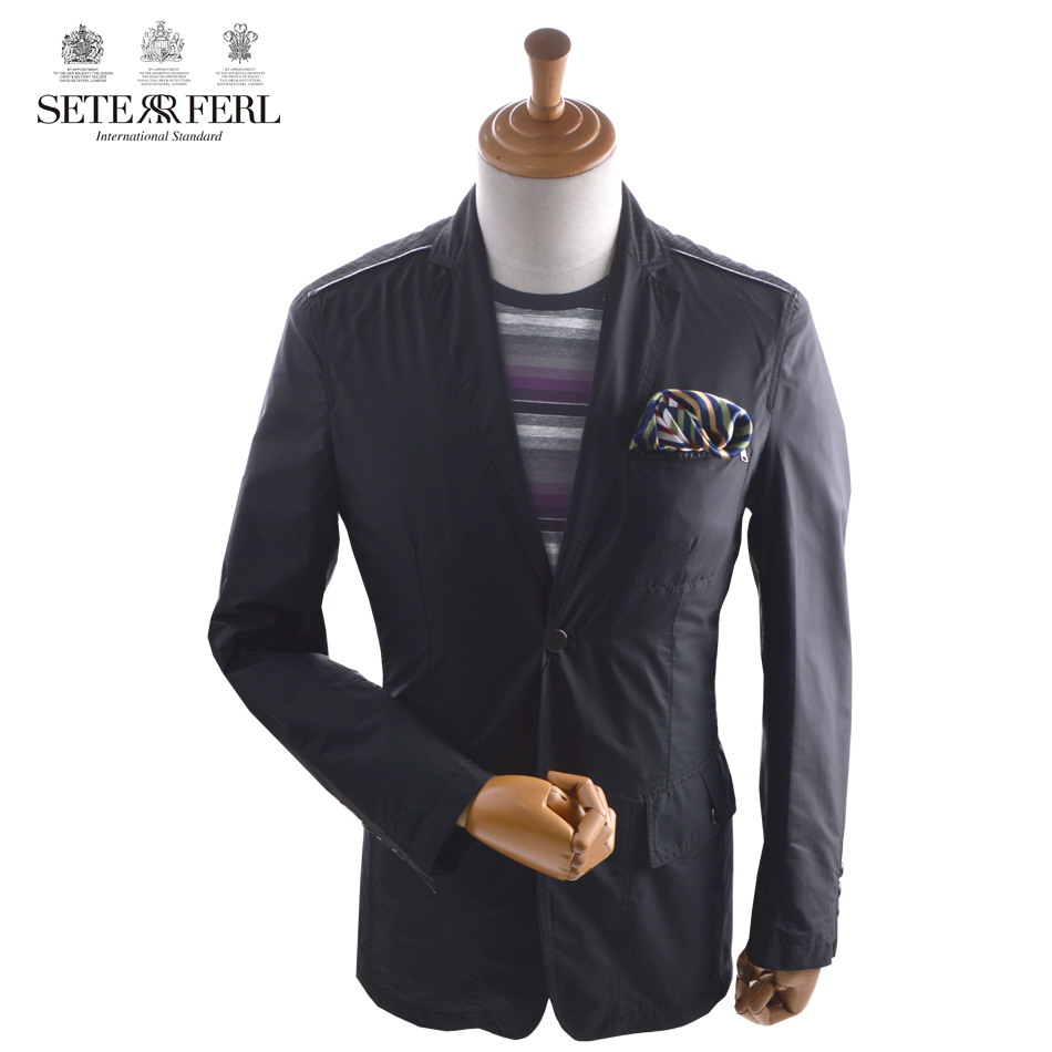 Spring and autumn polyester thin mens suit coat striped casual jacket mens black single brand suit