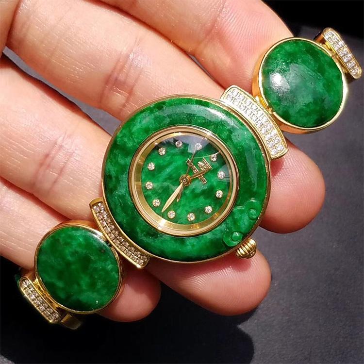 天然缅甸A货 花青鲜绿镶钻翡翠手表自动防水时尚腕表玉石女配证书