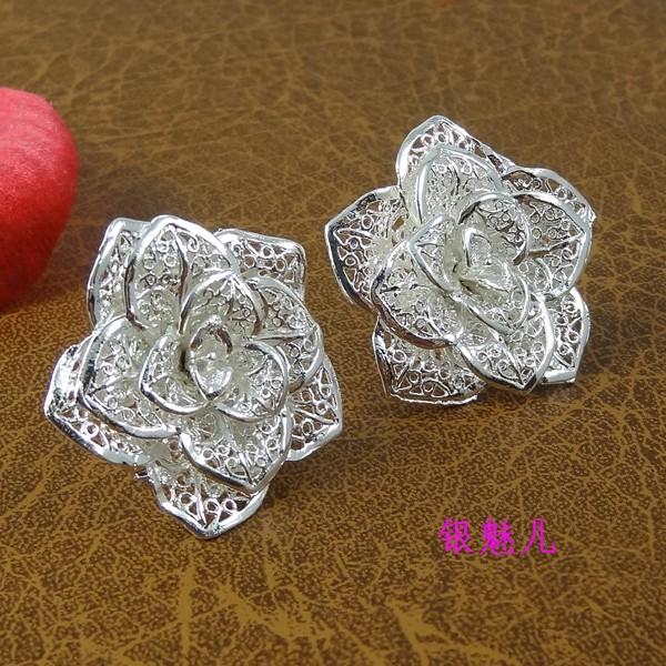 Резные стерлингового серебра розы преувеличенной non-mainstream уха Серьги ювелирные изделия корейских мужчин и женщин Европы, стильные акции