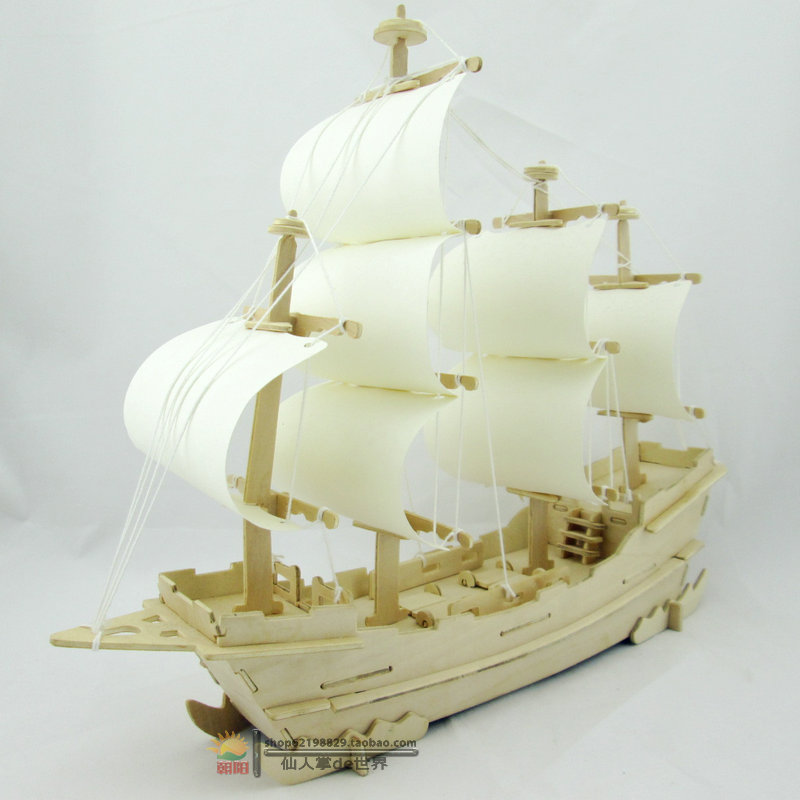 3d Puzzle Wooden Ship Model Three Dimensional Puzzle Assembled Diy Manual Model Creative Intelligence Toys Ancient Sailing