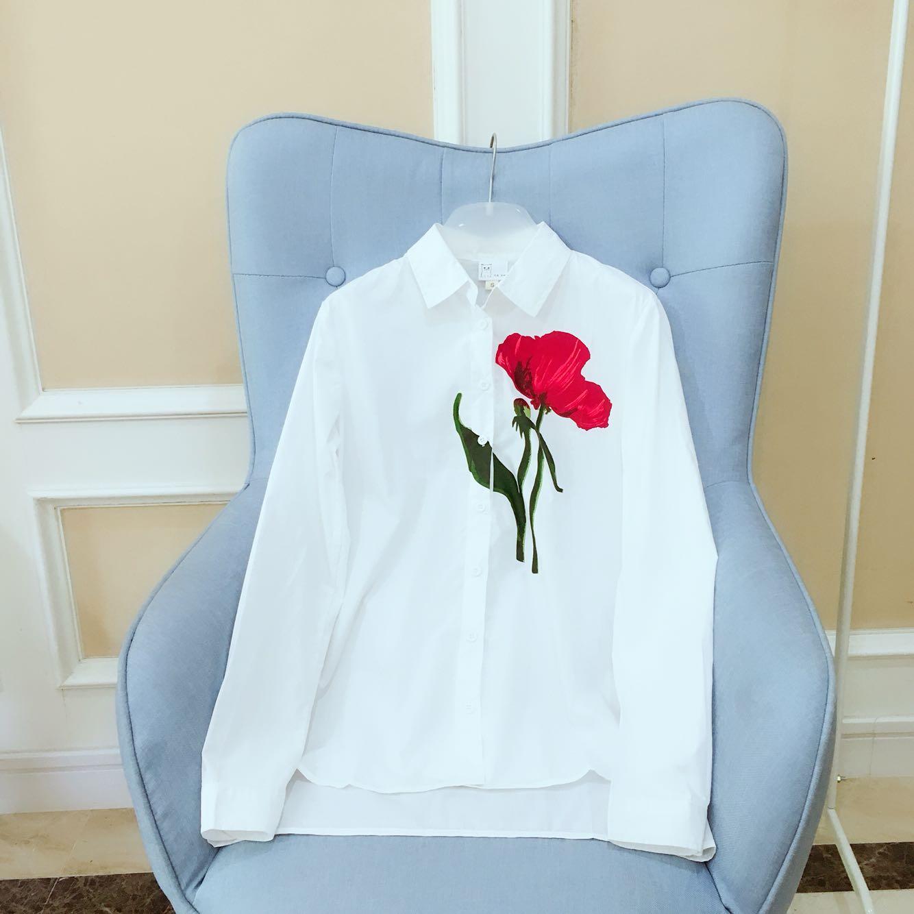 通勤,休闲皆可穿!!玫瑰花朵印花长袖衬衫2562