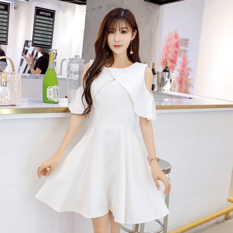 Fat sister extra large womens dress add to increase new style open shoulder shawl cover meat show thin dress 9898