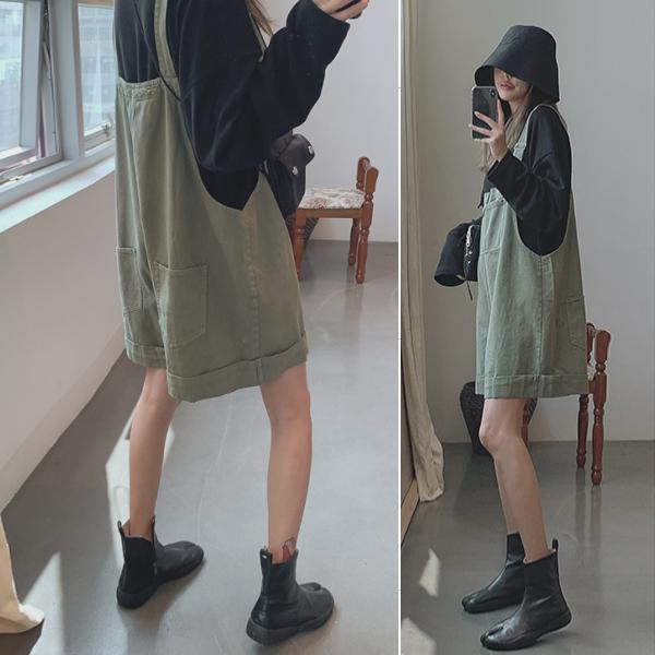 韩国女装2019秋新 炒鸡减龄 BF工装卷边阔腿短裤休闲背带裤H-A24