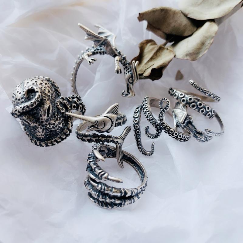 【925纯银 暗黑系】复古做旧银开口戒指飞龙沉睡之龙章鱼大马林鱼