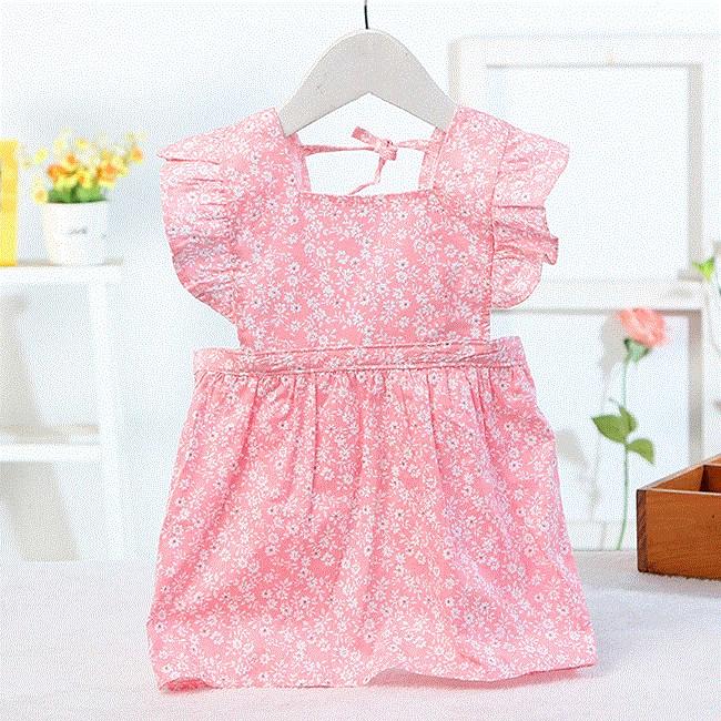儿童围裙幼童婴幼儿女宝宝围衣透气宝贝吃饭衣围兜无袖时尚动漫家