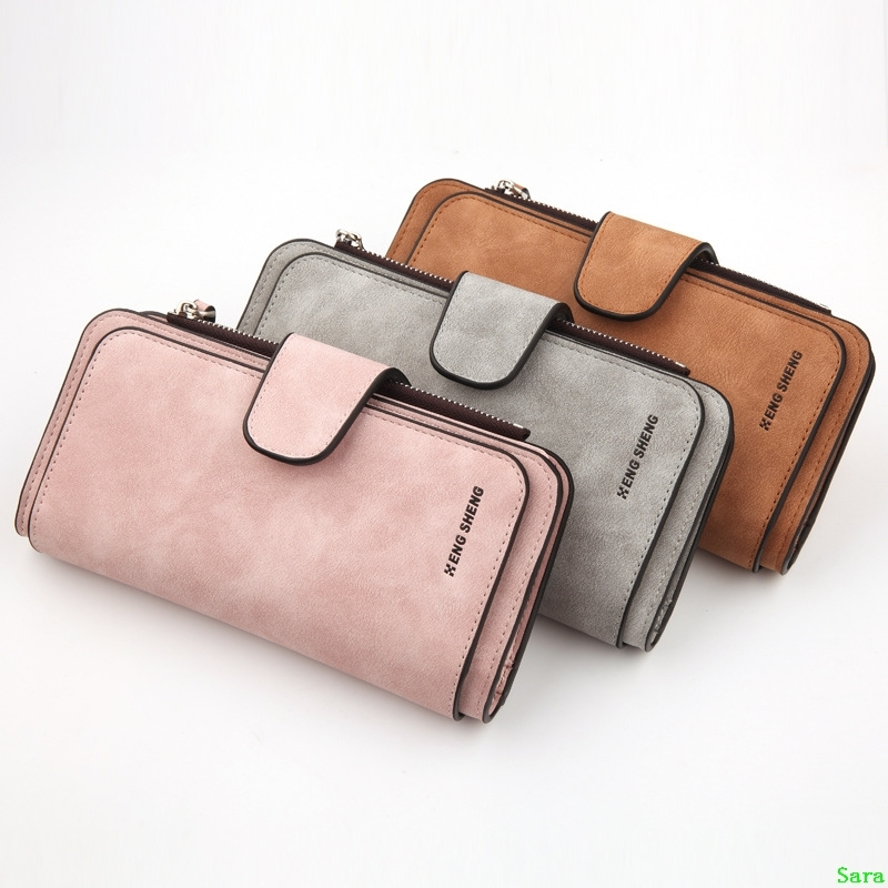 New womens Korean wallet buckle big 30% off fashion womens bag multi card womens purse frosted two color fabric