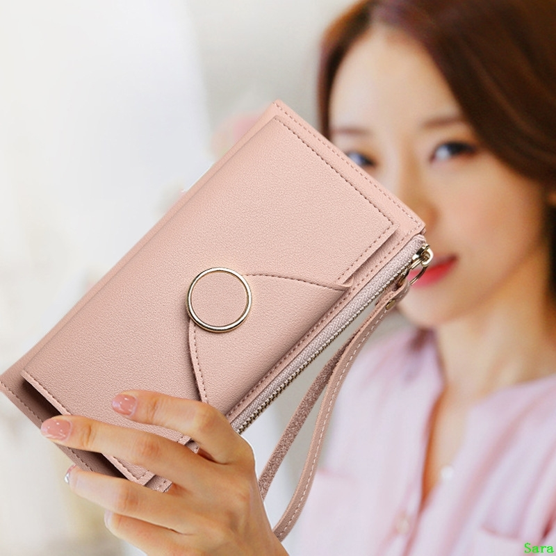 New style womens long purse buckle two fold double layer womens mobile phone bag zipper handle pocket change purse