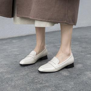 白色便士乐福鞋女真皮粗跟2020春款学院风单鞋方头工作鞋百搭女鞋