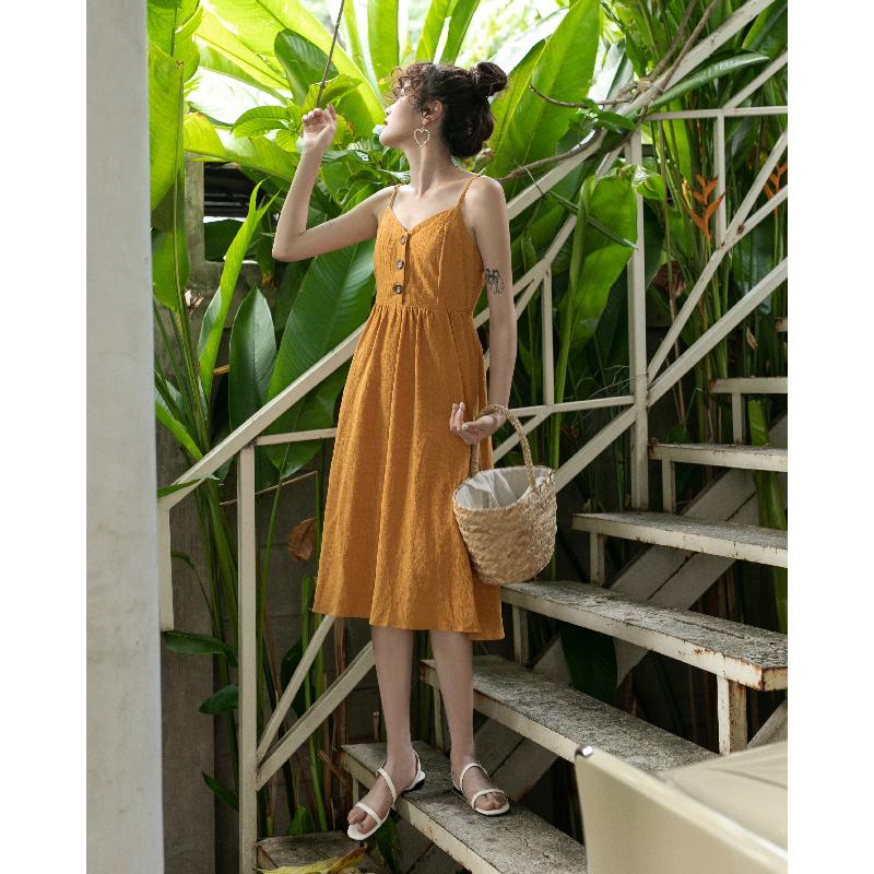 觅定黄色法式复古吊带裙女连衣裙裙子冷淡风赫本仙气超仙森系chic(非品牌)