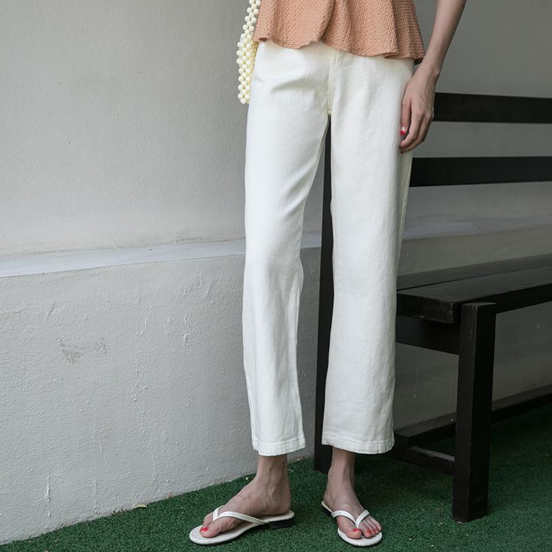 觅定白色宽松高腰直筒裤显瘦牛仔裤券后79.99元