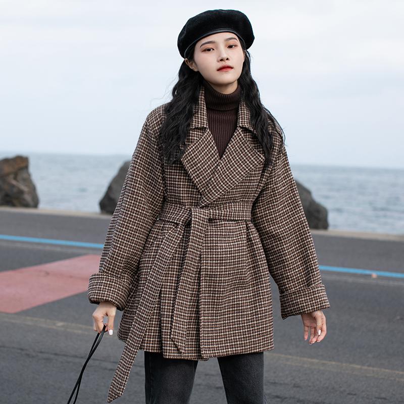 觅定千鸟格毛呢西装外套女秋冬加厚小个子大衣2020新款冬季中长款