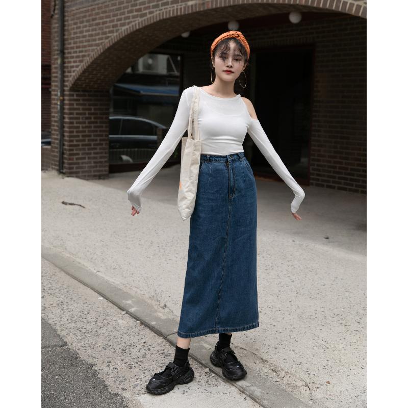 觅定高腰牛仔裙半身裙女秋冬2020新款中长款直筒包臀裙子长裙秋季