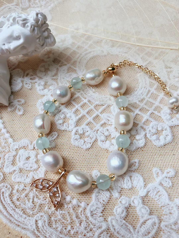 Super gentle beauty fishtail Bracelet ~ original natural baroque pearl Aquamarine Bracelet 14K gold-plated jewelry