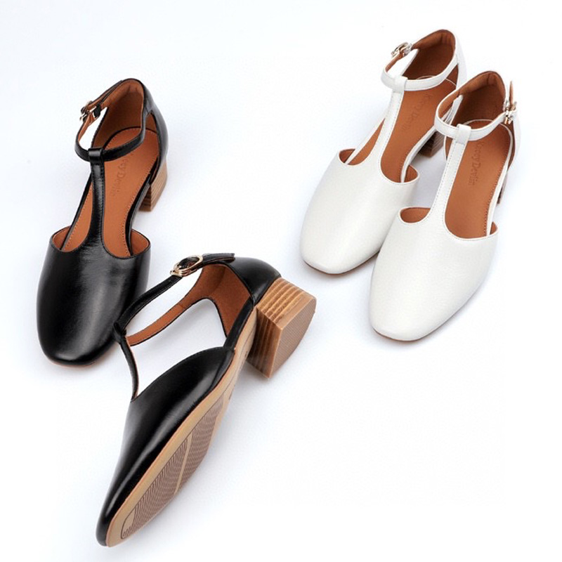 Summer 2020 new deerskin lining leather one button marizhen sandals womens thick high heel Baotou fashion womens shoes