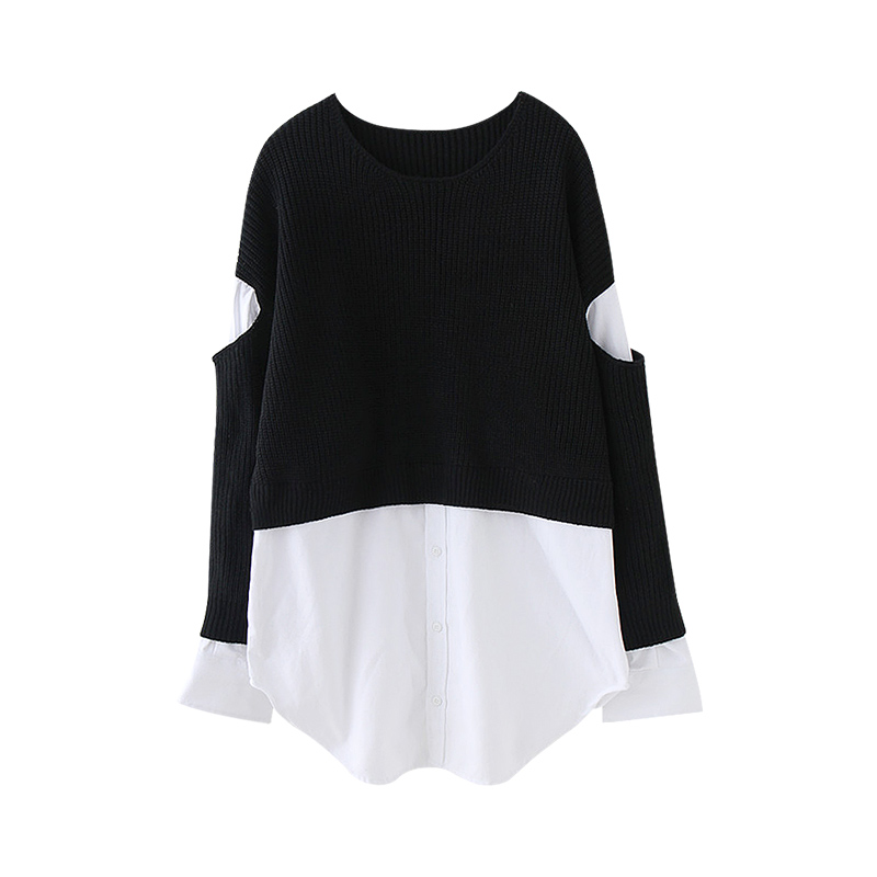 Spring 2020 accent broken sleeve fake two sweaters womens Korean personalized knitted stitching Shirt Top
