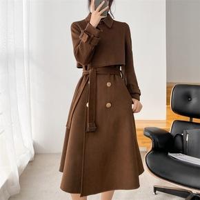 毛呢大衣女秋冬中长款2020年新款修身显瘦高端气质双面羊绒大衣女