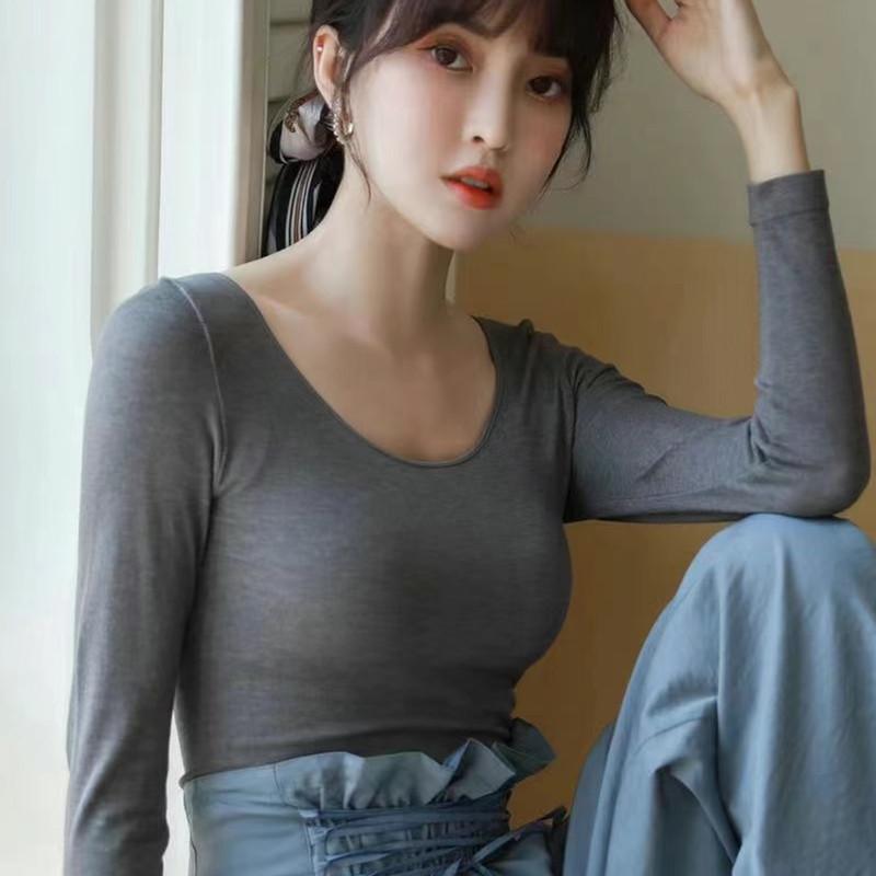 超低领秋衣秋裤女士长袖紧身无缝莫代尔纯色打底薄款保暖内衣套装