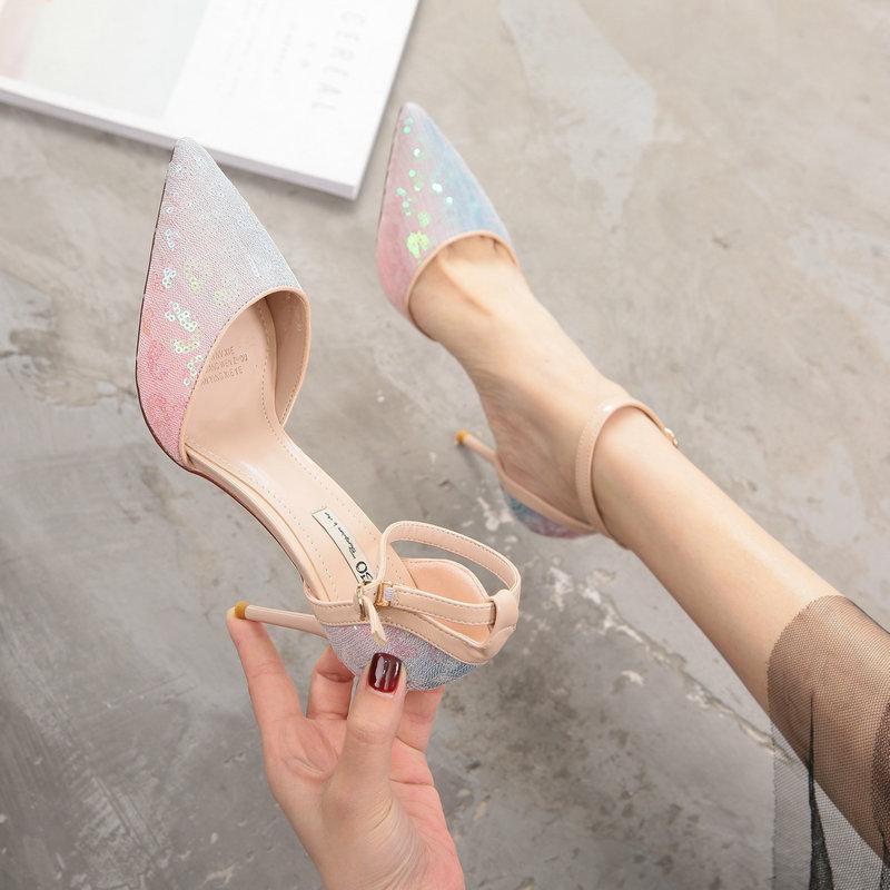2019新款很仙的高跟鞋少女百搭细跟春新女鞋ifashion单鞋床上超高