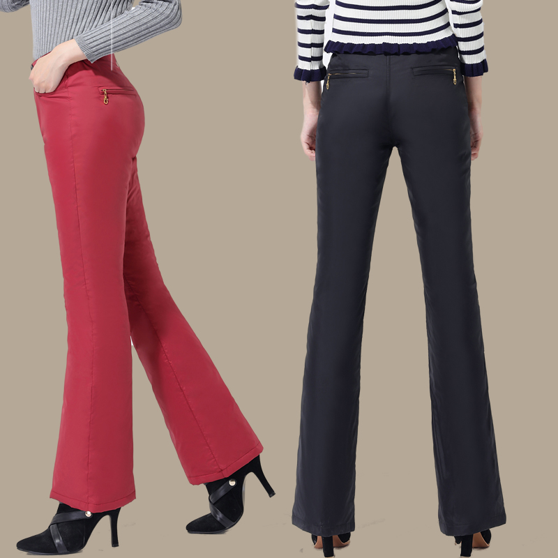New down pants women wear high waist thickened large duck down pants to show thin bell bottoms and winter micro bell cotton pants