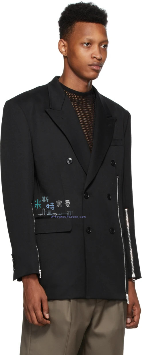 Mr. self made high street fashion show in autumn and winter of 20 personalized multi zipper split double breasted casual suit