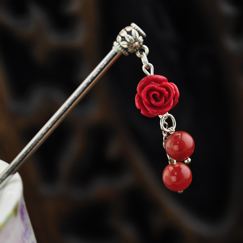 Ретро аксессуары для волос краски модельывать роз красный агат классическая боб сын шаг встряска блюдо волосы ветер женщина женщина подарок