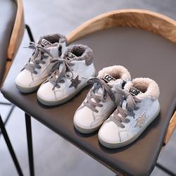 女童鞋秋2020年新款儿童运动鞋秋冬季男童高帮板鞋宝宝加绒二棉鞋