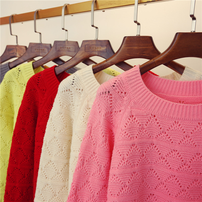 Autumn new hollow out sweater womens Korean loose pink Pullover Sweater Crew Neck Long Sleeve early autumn jacket