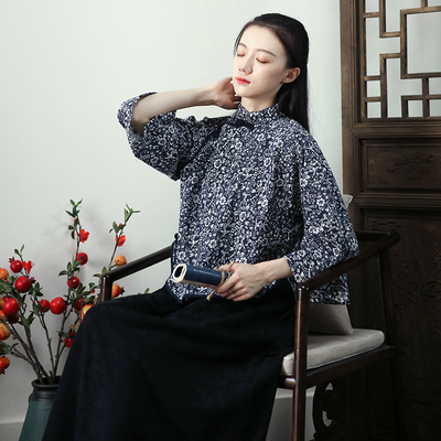 Commoner beauty original cheongsam young model of the Republic of China temperament girl inverted big sleeves elegant little jacket thin top