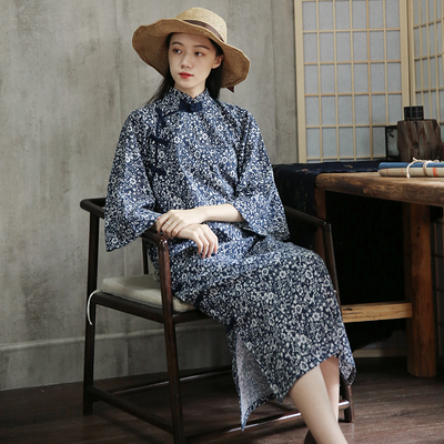 Commoner beauty original cotton and linen young style of the Republic of China temperament girl inverted large sleeves elegant and thin cheongsam skirt top