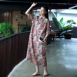 2021春夏款女改良旗袍民族风女装棉麻长款盘扣袍子中式复古连衣裙
