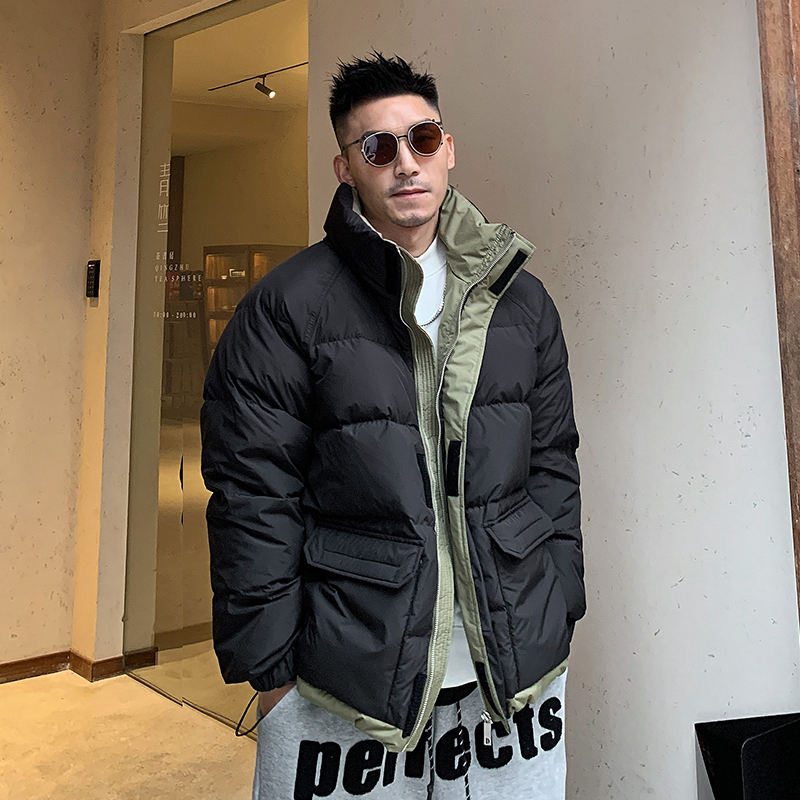 Uncle Gang winter men's stand-up collar down jacket thickened color matching loose warm jacket Korean casual American trend