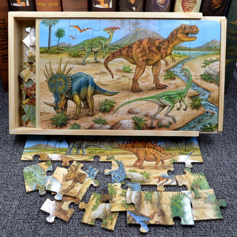男孩木质拼图恐龙儿童拼装3岁玩具11-30新券