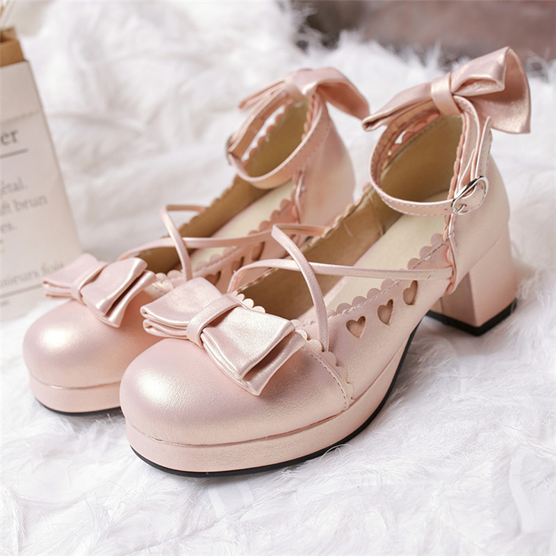 Japanese lovely girl student Lolita Merlot Lolita shoes middle heel tea party shoes original Lo shoes single shoes female