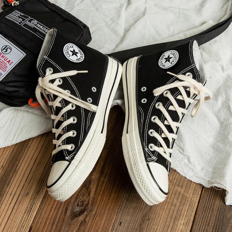 1970s冬季帆布鞋男高帮韩版潮流鞋子ins情侣百搭加绒男鞋港风板鞋