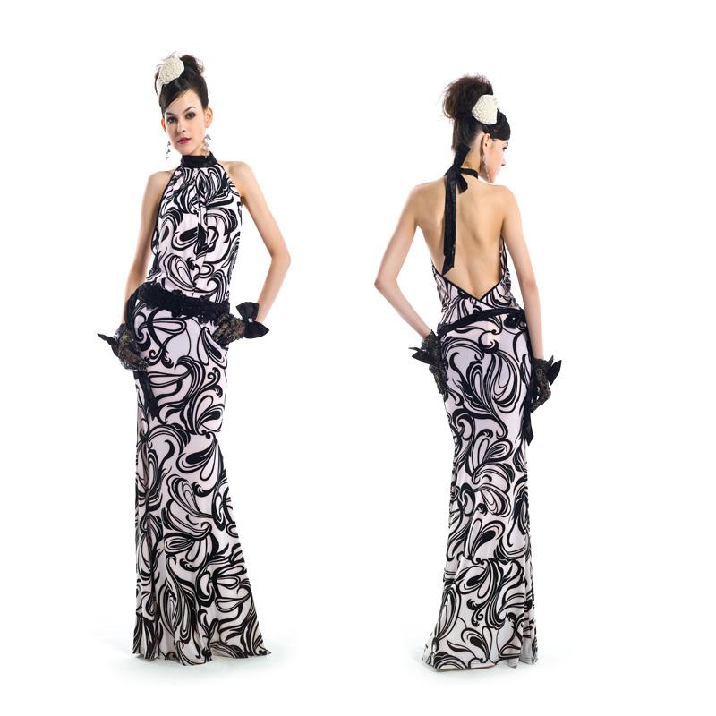 OU Lailan-Квай-Фонг новых долго печатных платье черно-белый Холтер тонкие платья платье 21561