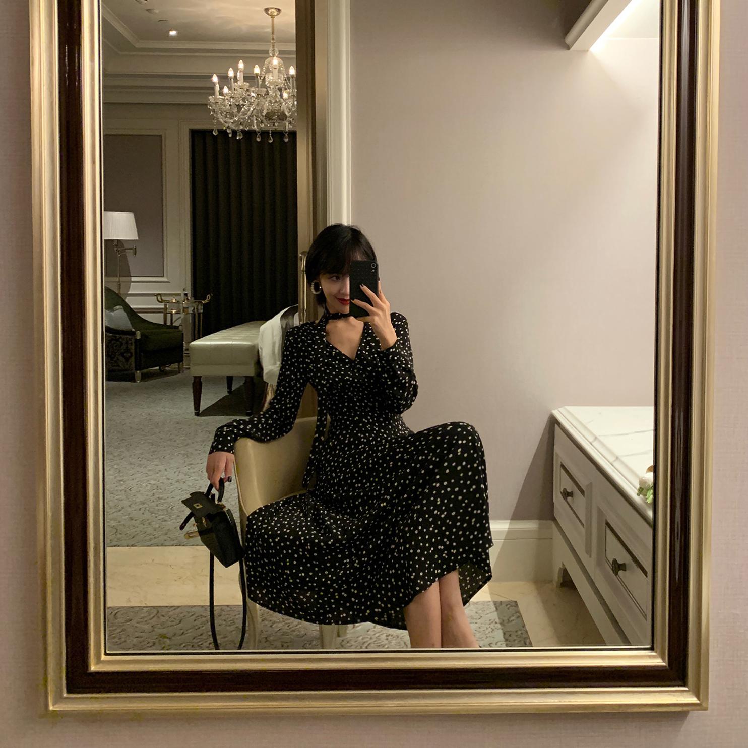 ALOHA STUDIO 露合制衣 2019秋冬长款过膝修身V领长袖气质连衣裙