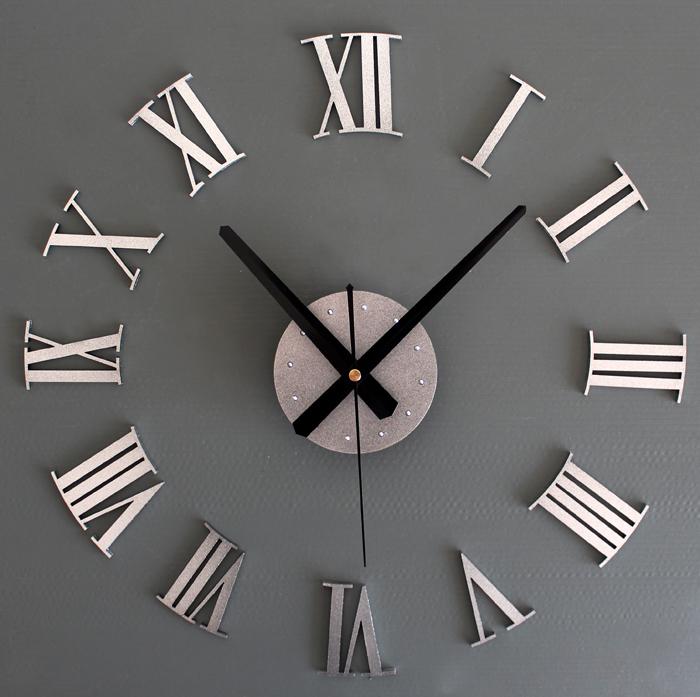 Металлик Серебряный римской цифрой стены часы 3D DIY творческое сочетание настенные часы Вставьте заклепку