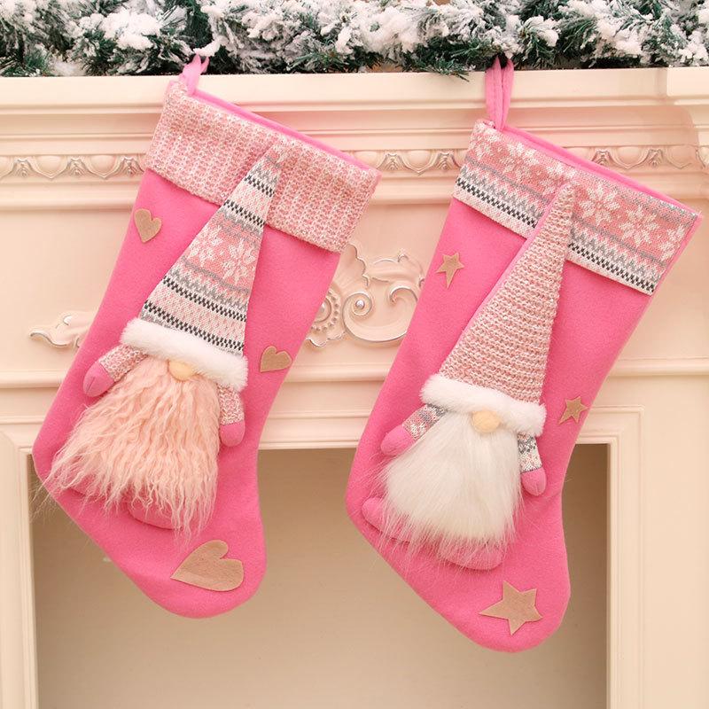 针织绒布无脸深林侏儒老人立体大号袜圣诞节挂件装饰品礼物