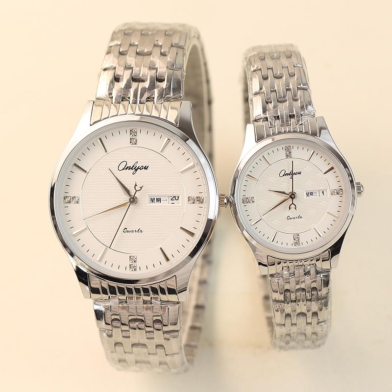 限2000张券新款潮流超薄镶钻双日历一对手表