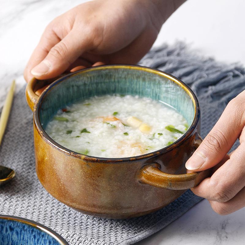 日式复古陶瓷双耳碗家用餐具泡面碗创意甜品碗水果沙拉碗一人食器
