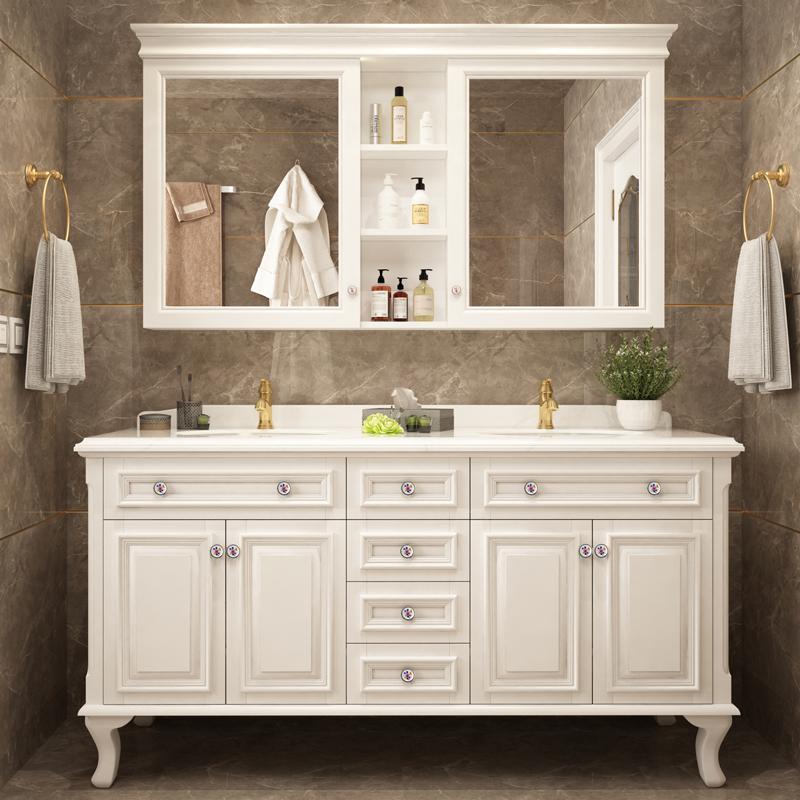 轻奢美式双盆浴室柜大理石盆落地实木洗手洗漱台盆柜组合卫生间柜