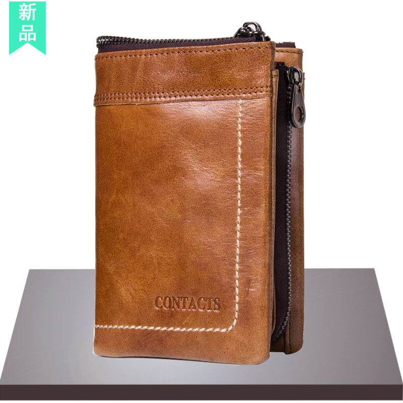 Wallet mens leather short retro Crazy Horse Leather Wallet 2020 New Youth multifunctional zipper three fold Wallet