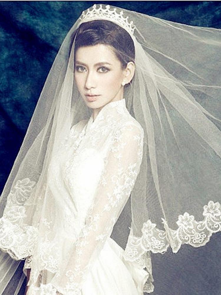 Вера V010 орнамент кружева длинная фата перетащить два метра и восемь долго замыкающий свадьба белый стиль пряжи