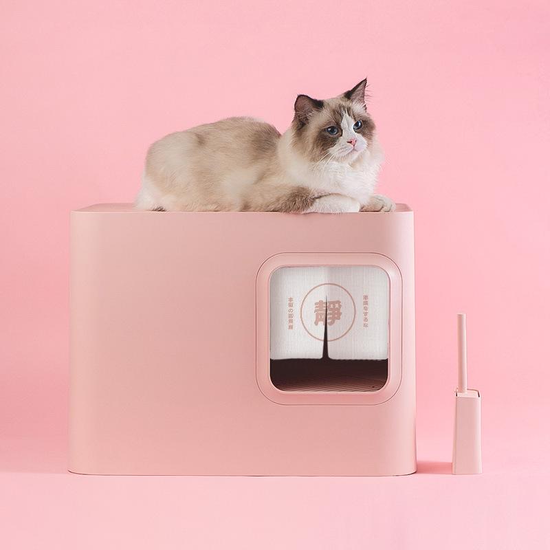 呢酷猫砂研究所猫砂盆半封闭封闭式大号防外溅隔臭祛臭猫厕所和风
